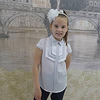 """Блузка для девочки """"Накладки""""(белая с отделкой в мелкий горошек), фото 1"""