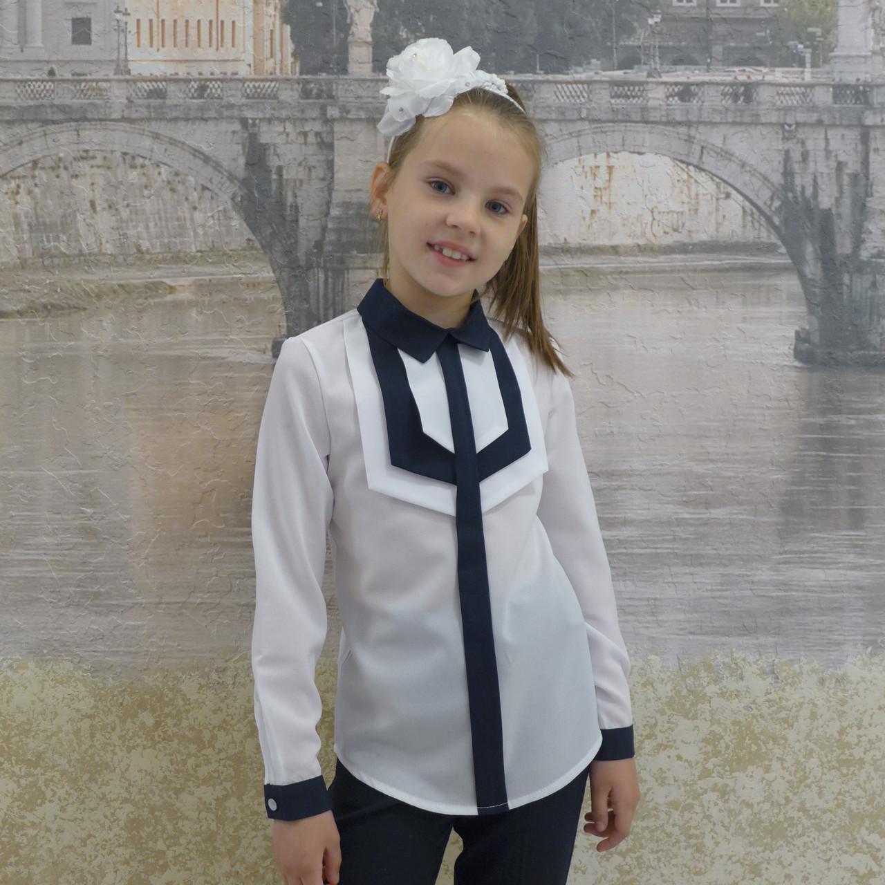 """Блузка для девочки """"Накладки""""(белая ссиней отделкой) длиный рукав"""
