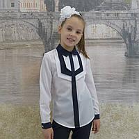"""Блузка для девочки """"Накладки""""(белая ссиней отделкой) длиный рукав, фото 1"""