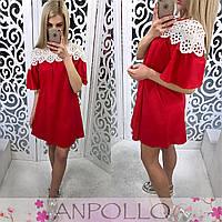 Женское красивое хлопковое платье с кружевом (5 цветов)