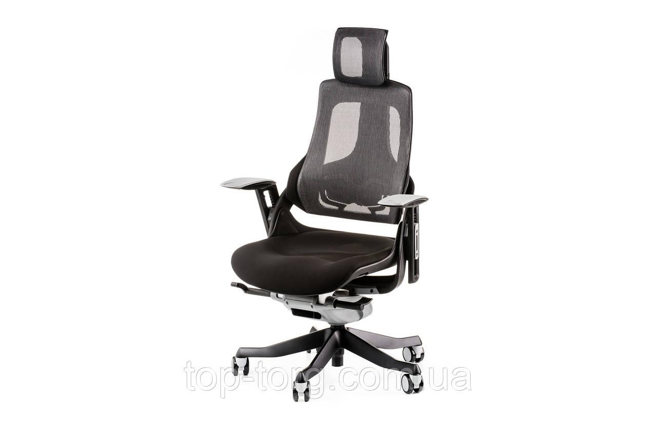 Крісло комп'ютерне WAU BLACK FABRIC, CHARCOAL NETWORK, чорний, сірий