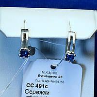 Серебряные серьги с квадратным синим цирконием сс 491с