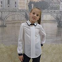 """Блузка для девочки""""Двойной воротник""""(белая с синей отделкой)длиный рукав, фото 1"""
