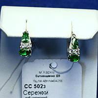 Серебряные серьги с зеленым цирконием Капли сс 502з