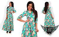 Платье в пол с рукавом по локоть и цветочным принтом