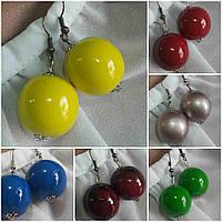 Женские глянцевые серьги желтого цвета, d бусин 2 см, 20/12 (цена за 1шт. +8 грн)