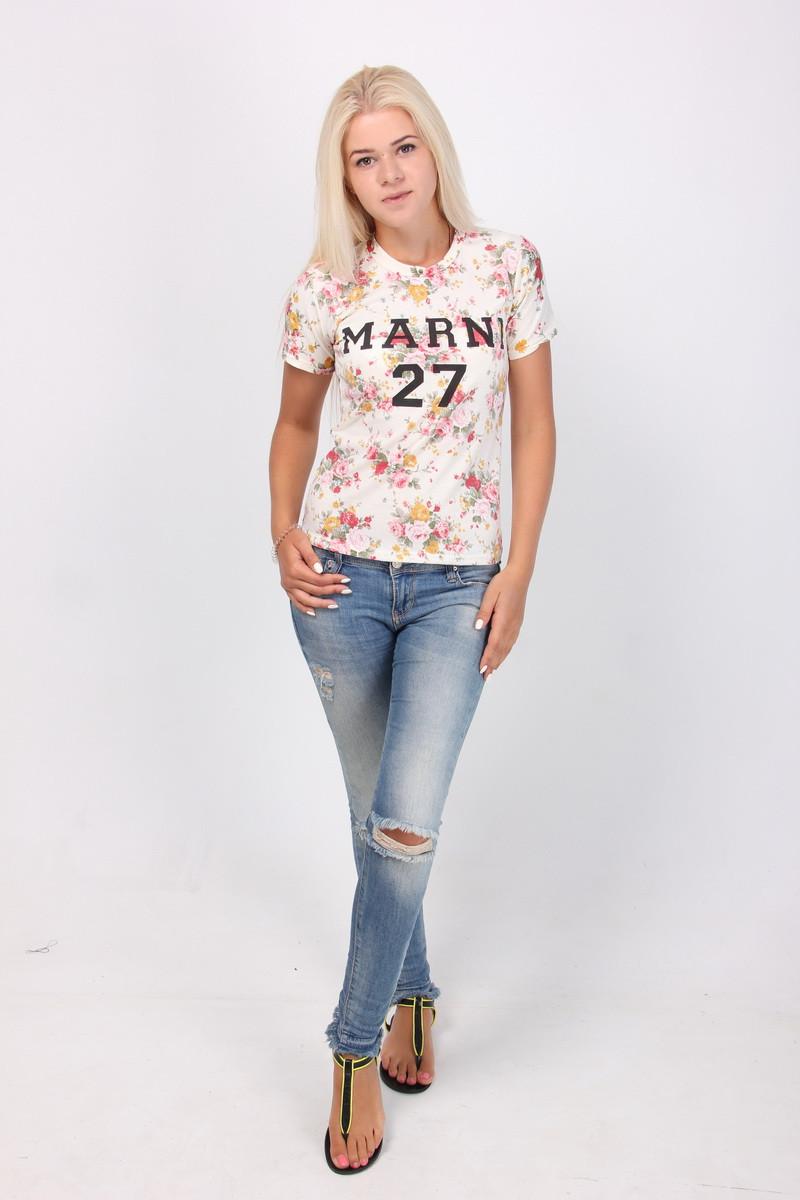 Женская футболка в цветочный принт