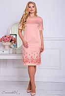 Атласное платье с вышивкой, персикового цвета, размер 50, 52, 54, 56, лето