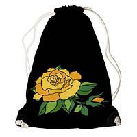 """Рюкзак мешок молодежный черный с принтом """"Роза"""" ,магазин рюкзаков"""
