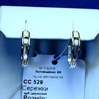 Серебряные серьги с цирконием Полукольца сс 529