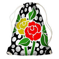 """Рюкзак мешок молодежный черный с принтом """"Роза."""" ,магазин рюкзаков"""