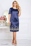 Атласное платье с вышивкой, тёмно-синего цвета, размер 50, 52, 54, 56, лето