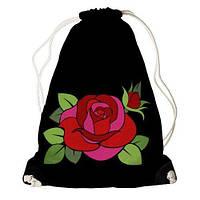 """Рюкзак мешок молодежный черный с принтом """".Роза."""" ,магазин рюкзаков"""