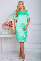 Атласное платье с вышивкой, бирюзового цвета, размер 50, 52, 54, 56, лето