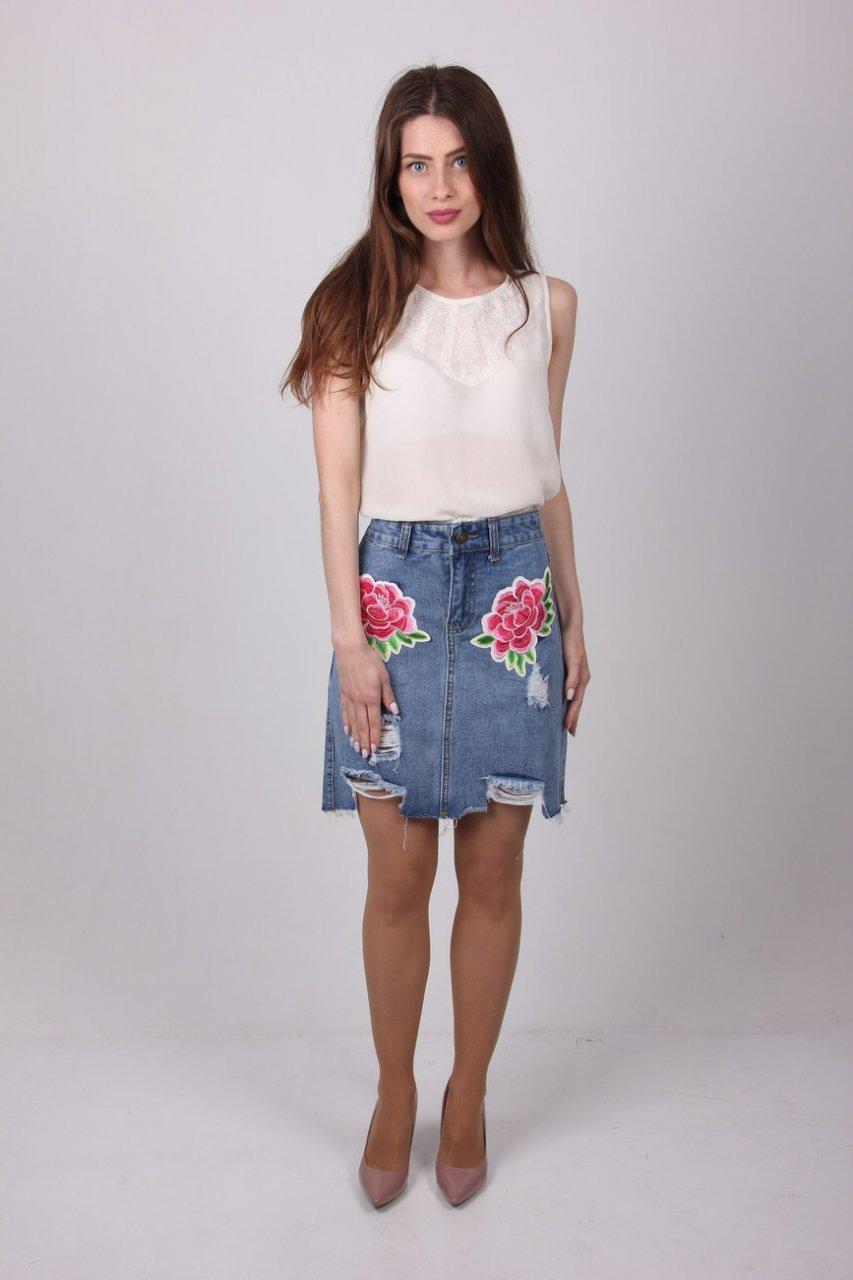 Модная женская юбка с аппликацией цветы