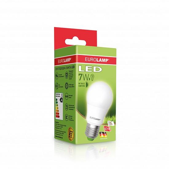 LED Лампа EUROLAMP ЕКО A50 7W E27 3000K
