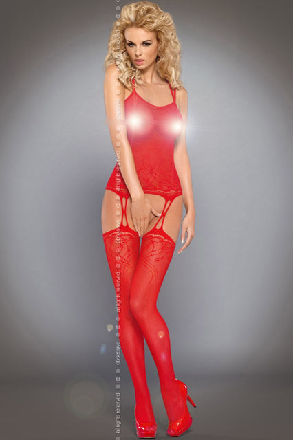Красное боди Obsessive Bodystocking F206 red
