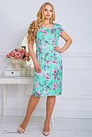 Летнее платье из жаккарда, с цветочным принтом, бирюзовое, размер 48, 50, 52, 54