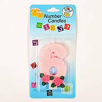Универсальная праздничная розовая свеча цифра  для торта с розочками 6