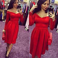 Платье женское Снежанна красное, платье до колена