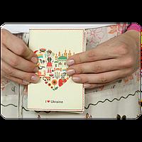 """Обложка для паспорта """"I Love Ukraine""""(украиночка)  + блокнотик"""