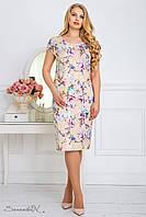 Летнее платье из жаккарда, с цветочным принтом, персиковое, размер 48, 50, 52, 54