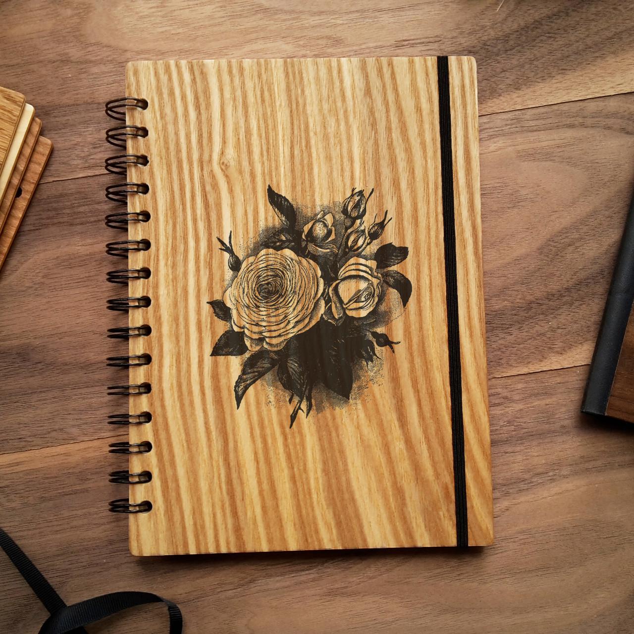 "Деревянный блокнот ""Роза"" А6 (бумага 105х148 мм), фото 1"