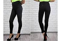 Женские черные джинсы с завышенной талией БАТАЛ