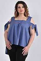 Льняная блуза больших размеров 0521 синяя