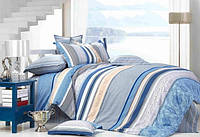 Евро комплект постельного белья Голубой Закат