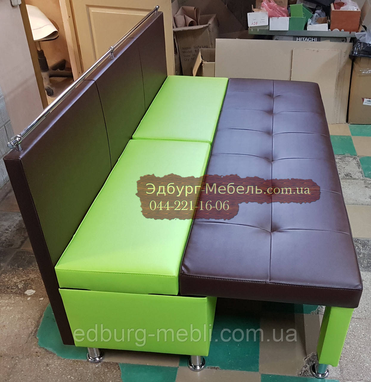Диван для узкой кухни, коридора с ящиком + спальным местом 1800х600х850мм - фото 6