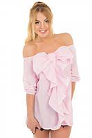 Стильная блуза Бант с открытым плечами р. S;М розовый