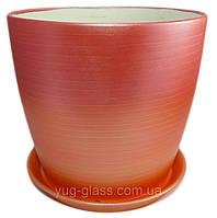 """Горшок цветочный """"Серпантин радуга красная"""" 5л H=20cm D=22cm керамический."""