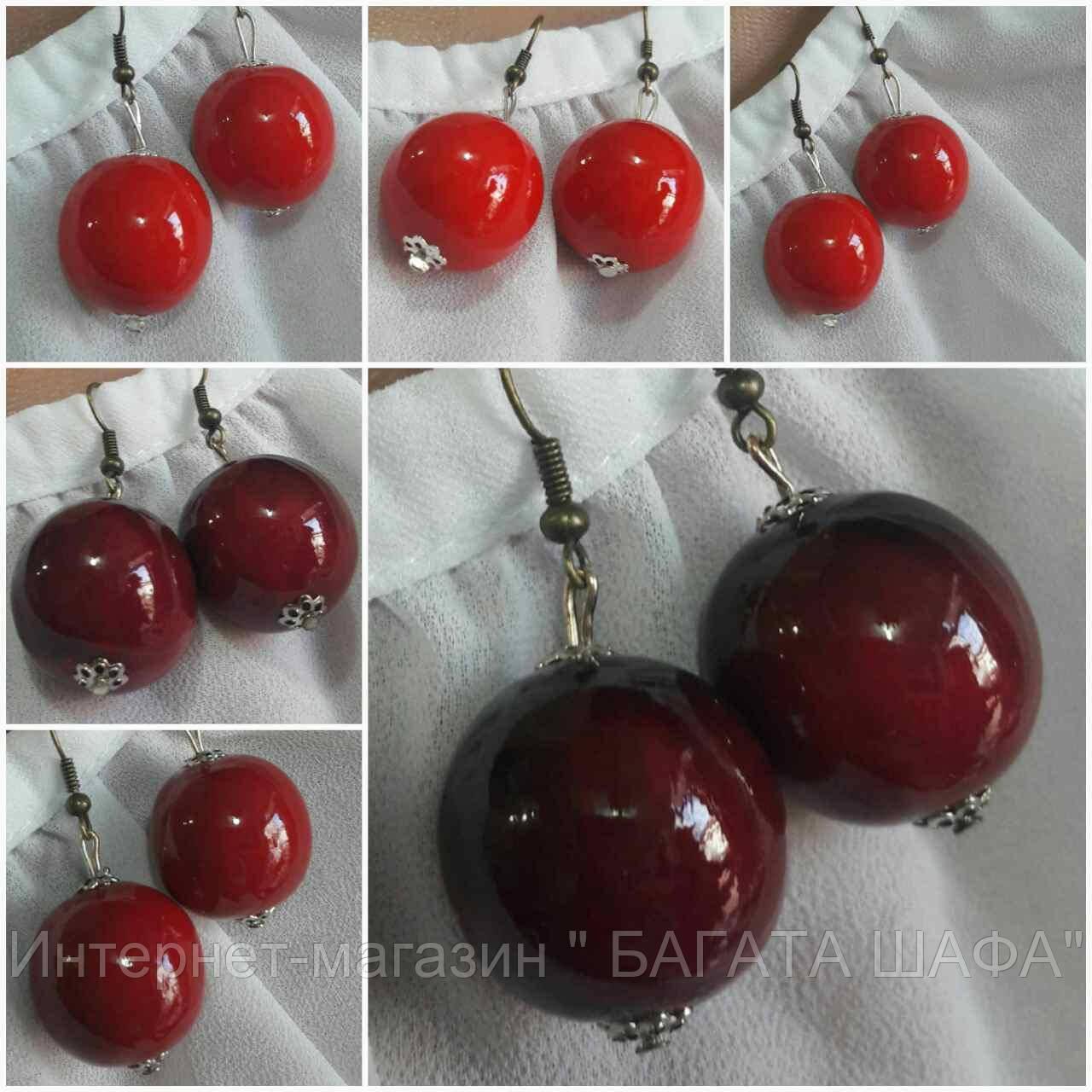 Серьги женские глянцевые вишневого цвета, d бусин 2 см, 12/20 (цена за 1 шт. + 8 грн)