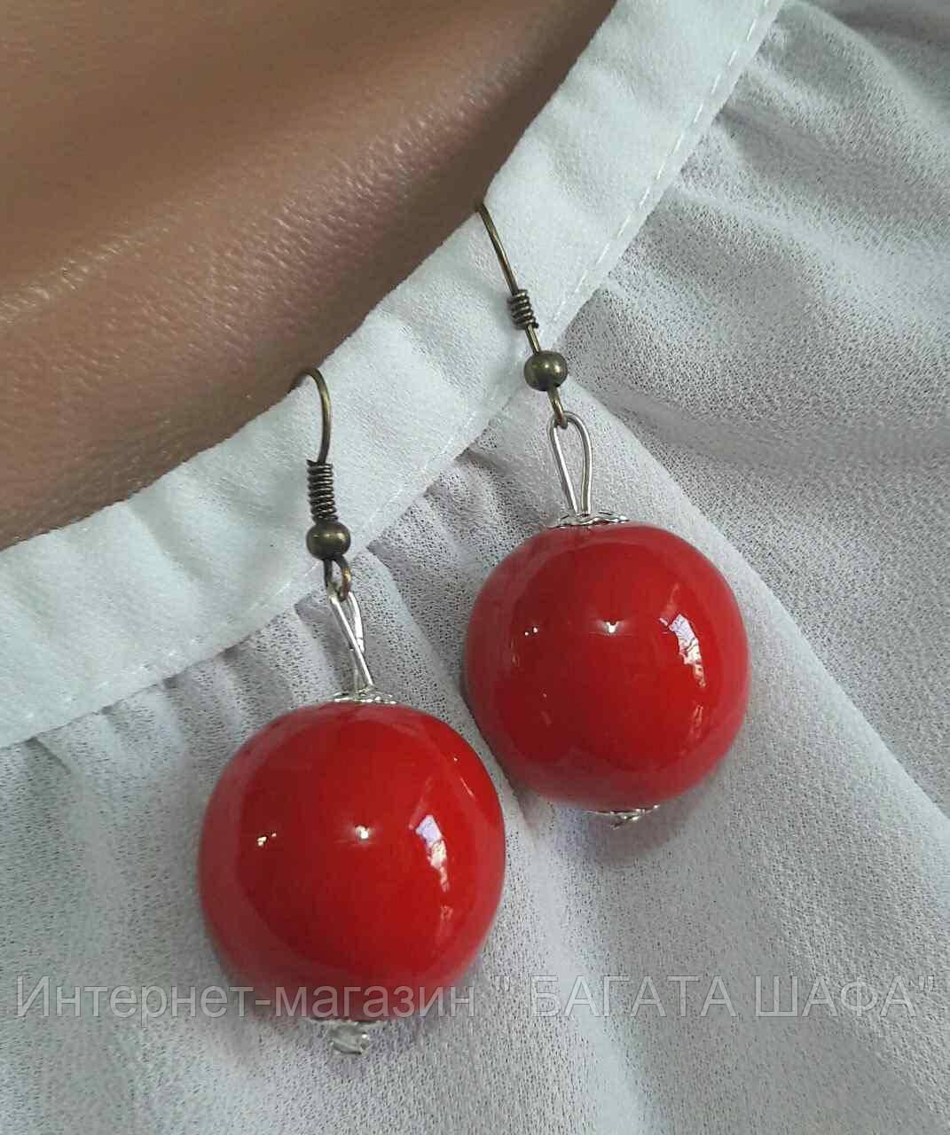 Яркие женские серьги, d бусин 2 см, 12/20 (цена за 1 шт. + 8 грн)