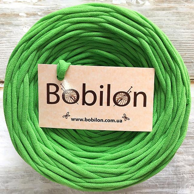 Трикотажная пряжа Bobilon 7-9 мм, цвет зеленое яблоко