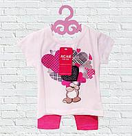Детский костюм летний с футболкой и бриджами для девочки Турция