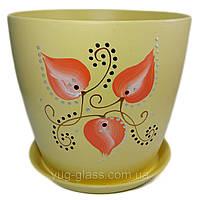 """Горшок цветочный лакированный """"Художественная дорисовка на желтом"""" 5л H=20cm D=22cm керамический."""