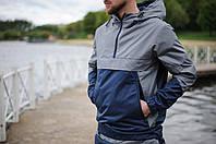 Анорак, ветровка, куртка летняя, весенняя, осенняя, синий+серый