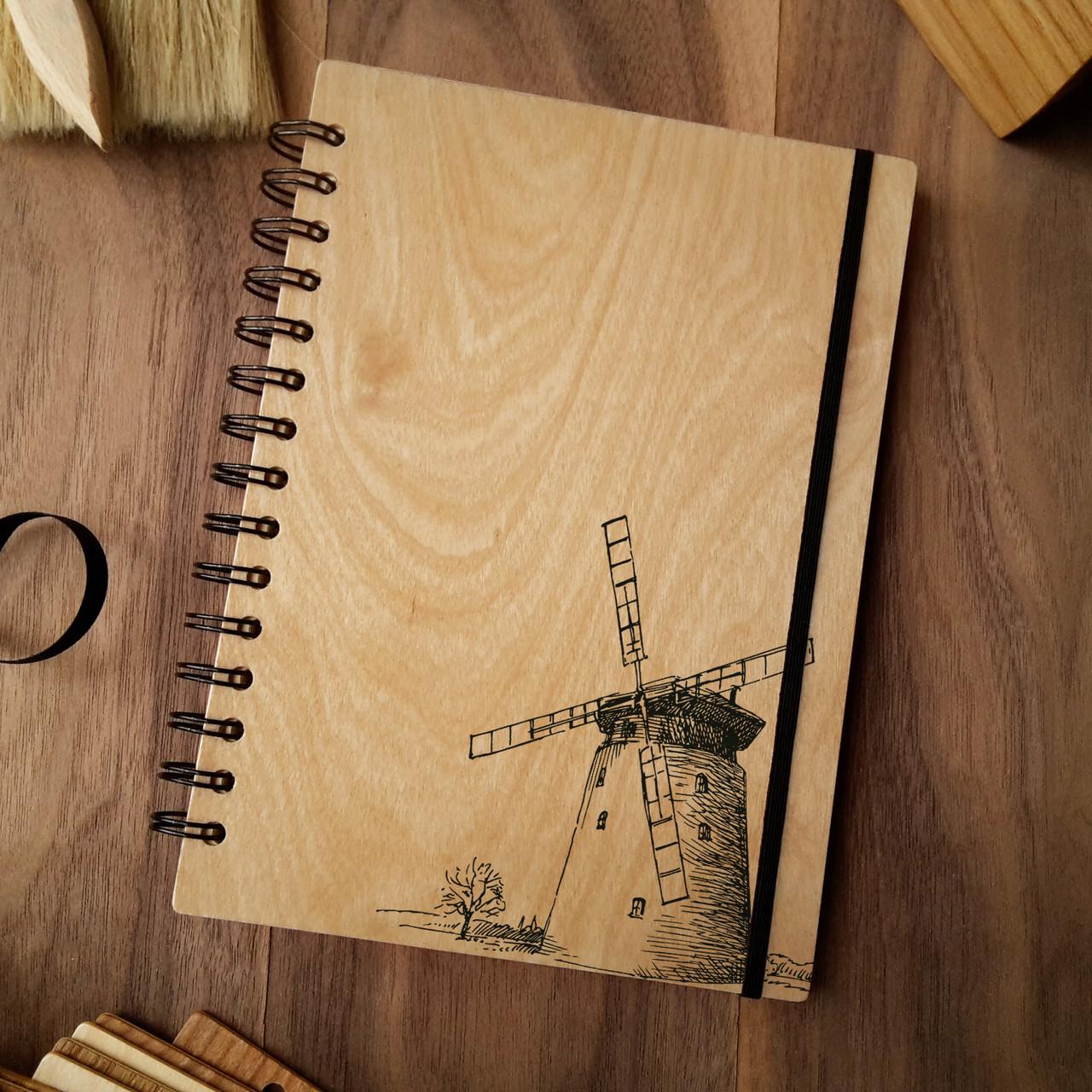 "Деревянный блокнот ""Мельница"" А6 (бумага 105х148 мм)"