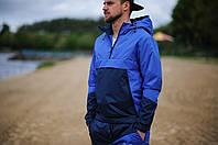 Анорак, ветровка, куртка летняя, весенняя, осенняя, черный+синий