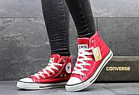 Женские высокие кеды Converse красные 2266