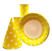 """Набор  для Дня Рождения """" Горох желтый """" Тарелки большие  -10 шт. Стаканы- 10 шт. Колпаки большие- 10 шт."""