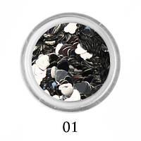 Блестки-сердечки для декора  Adore №1 Серебро