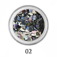 Блестки-сердечки для декора  Adore №2 Голографическое серебро
