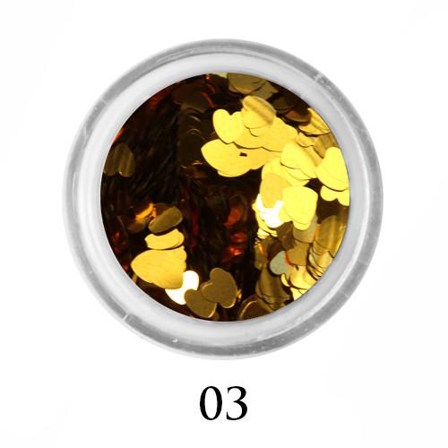Блестки-сердечки для декора  Adore №3 Золото