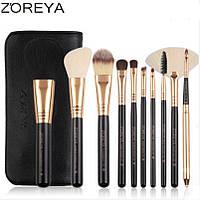 Набор кистей для макияжа  Zoreya  10 шт.  плюс чехол