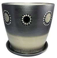 """Горшок цветочный лакированный """"Художественная дорисовка на серебре"""" 5л H=20cm D=22cm керамический."""
