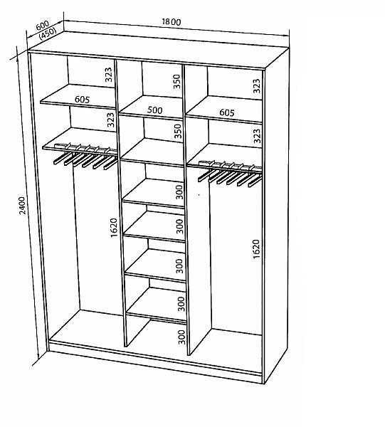 Наполнение трех дверного шкафа