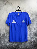 Футболка Adidas Palace Палас Адидас синяя (большой принт)